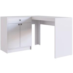 Escrivaninha de Canto com Balcao OB003 Branco PP Milani Store