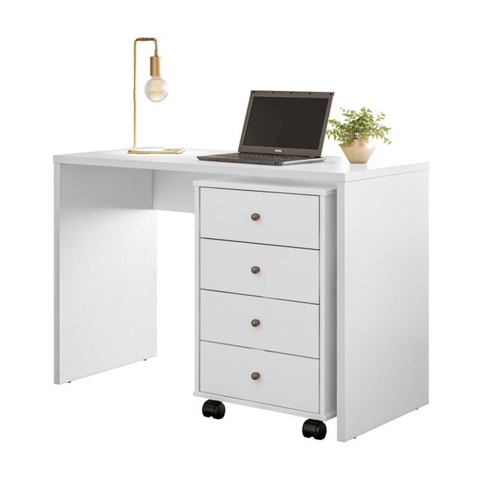 Escrivaninha e Gaveteiro Office Presence Branco Demobile