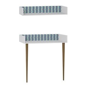 Escrivaninha E Prateleira Retro Branco Azul Pes Palito Be Mobiliario