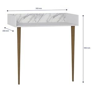 Escrivaninha E Prateleira Retro Branco Carrara Pes Palito Be Mobiliario