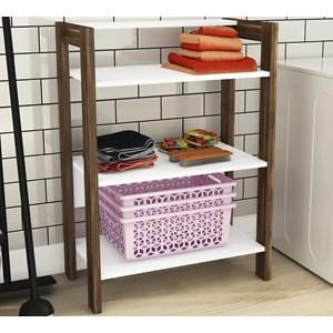 Estante Com 03 Prateleiras Closet Multiuso AZ1021 Branco Nogal Tecno Mobili