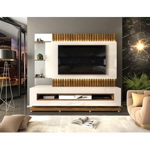 Estante Home Para TV 60 Polegadas Lumus Creme Tronco Ripado DJ Moveis