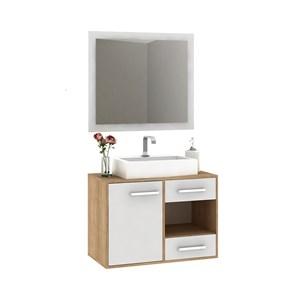 Gabinete Para Banheiro Carvalho Branco Com Espelho E Cuba Fellicci Moveis