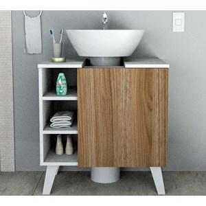 Gabinete Para Pia De Banheiro BAC5000 Branco Castanho APT Milani Store