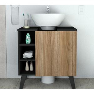Gabinete Para Pia De Banheiro BAC5000 Preto Castanho APT Milani Store