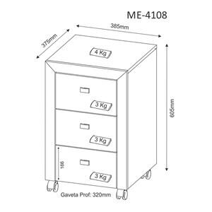 Gaveteiro para Escritório ME-4108 Nogal Tecno Mobili