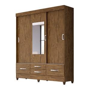 Guarda Roupa 3 Portas de Correr Com Espelho Vegas Castanho Avela Wood Moval