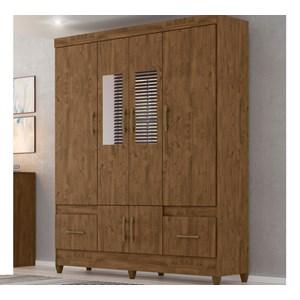 Guarda Roupa 6 Portas 2 Gavetas Com Espelho MS912 Castanho Wood Moval