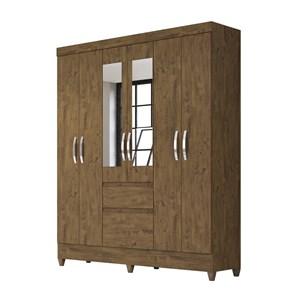 Guarda Roupa 6 Portas Com Espelho New Cuba Castanho Wood Moval