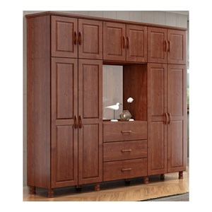 Guarda Roupa Capelao 10 Pts Bipartido Com Espelho 1153T Bronze Imbuia FNT Milani Store