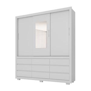 Guarda Roupa Casal 03 Portas Detroit Branco Com Espelho Demobile