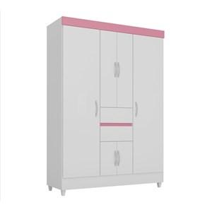 Guarda Roupa Casal 06 Portas Ecom II Branco Rosa Flex Demobile