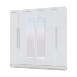 Guarda Roupa Casal 06 Portas Elegance Branco Canela Com Espelho Vila Rica
