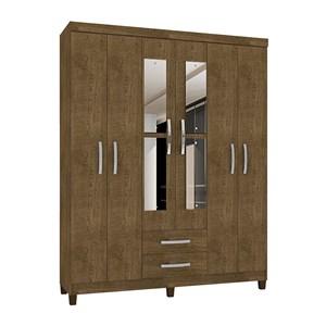 Guarda Roupa Casal 06 Portas Modena Malbec Com Espelho INC Milani Store