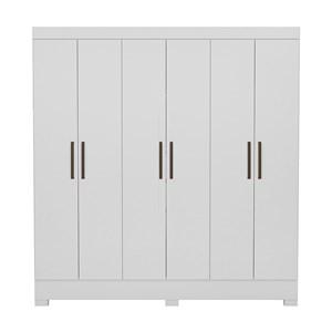 Guarda Roupa Casal 06 Portas Pratico Branco Demobile
