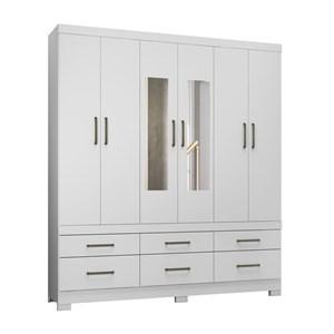 Guarda Roupa Casal 06 Portas Veneto Branco Com Espelho Demobile