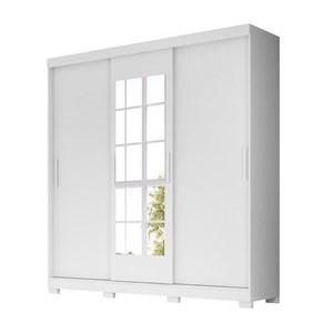 Guarda Roupa Casal 3 Portas de Correr Com Espelho Ilheus Branco Moval
