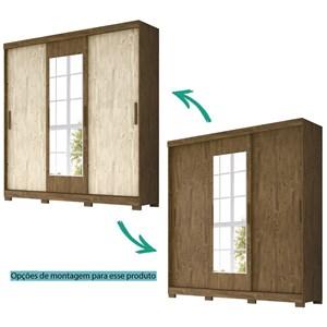 Guarda Roupa Casal 3 Portas de Correr Com Espelho Ilheus Castanho Avela Wood Moval