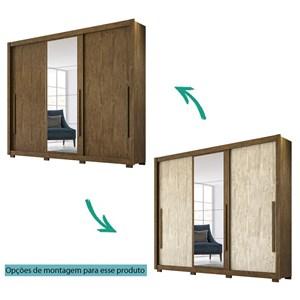 Guarda Roupa Casal 3 Portas de Correr Com Espelho Monaco Castanho Avela Wood  Moval
