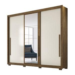 Guarda Roupa Casal 3 Portas de Correr Com Espelho Monaco Castanho Wood Baunilha Moval
