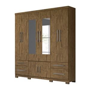 Guarda Roupa Casal 6 Portas Com Espelho Porto Plus Castanho Wood Moval