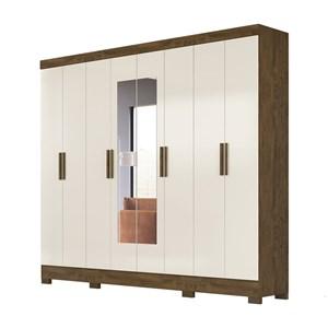 Guarda Roupa Casal 8 Portas Com Espelho Diplomata Castanho Wood Baunilha Moval