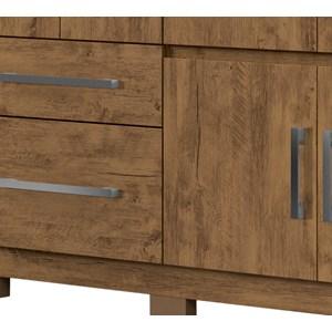 Guarda Roupa Casal 8 Portas Com Espelho Porto Plus Castanho Wood Moval
