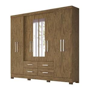 Guarda Roupa Casal 8 Portas Em MDF Com Espelho San Lorenzo Plus Castanho Wood Moval