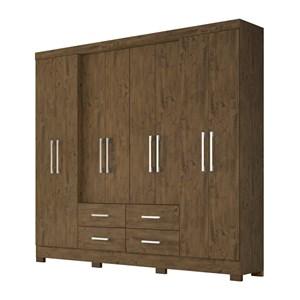 Guarda Roupa Casal 8 Portas Em MDF San Lorenzo Plus Castanho Wood Moval