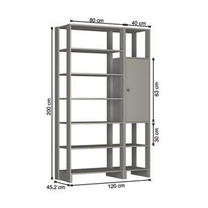 Guarda Roupa Closet 01 Porta 09 Nichos Yes EY103.107 Grafite Intenso Nova Mobile