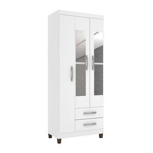 Guarda Roupa Solteiro 03 Portas Modena Branco Flex Com Espelho INC Milani Store