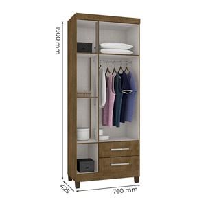 Guarda Roupa Solteiro 03 Portas Modena Malbec Com Espelho INC Milani Store