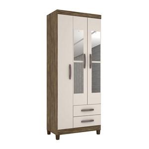 Guarda Roupa Solteiro 03 Portas Modena Teka Champanhe Com Espelho INC Milani Store
