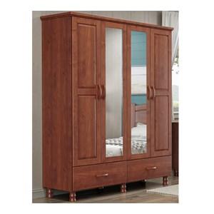 Guarda Roupa Solteiro 04 Portas Com Espelhos 1156T Bronze Imbuia FNT Milani Store