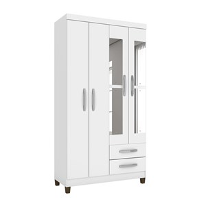 Guarda Roupa Solteiro 04 Portas Modena Branco Flex Com Espelho INC Milani Store