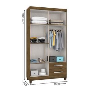 Guarda Roupa Solteiro 04 Portas Modena Malbec Com Espelho INC Milani Store