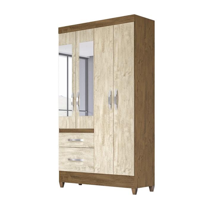 Guarda Roupa Solteiro 4 Portas Com Espelho Madri Castanho Avela Wood Moval