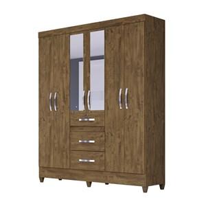 Guarda Roupa Solteiro 6 Portas Com Espelho Itatiba Castanho Wood Moval
