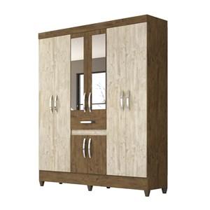 Guarda Roupa Solteiro 8 Portas Com Espelho Portugal Castanho Avela Wood Moval
