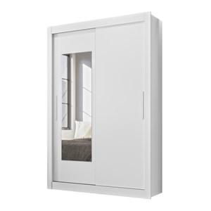 Guarda Roupa Solteiro Portas de Correr Com Espelho Itapoa Branco Moval