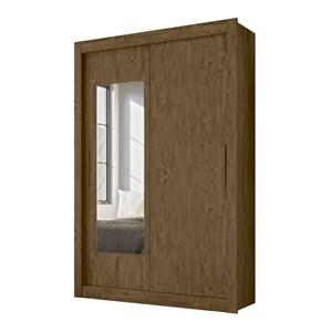 Guarda Roupa Solteiro Portas de Correr Com Espelho Itapoa Castanho Wood Moval