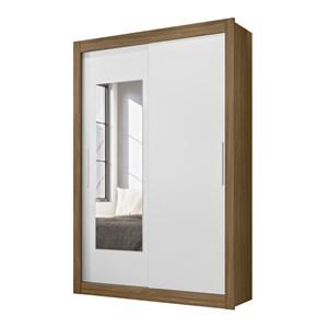 Guarda Roupa Solteiro Portas de Correr Com Espelho Itapoa Naturale Branco Moval