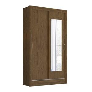 Guarda Roupa Solteiro Portas de Correr Com Espelho Natal Castanho Wood Moval