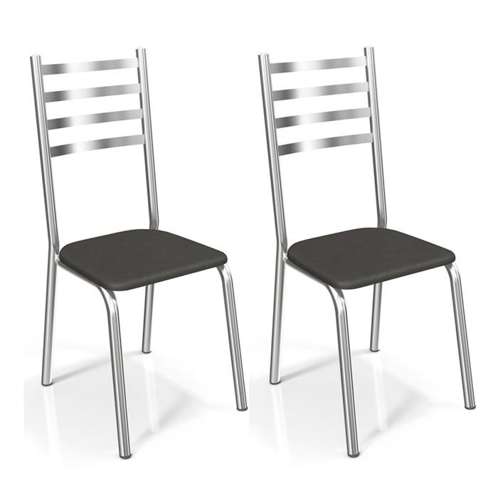 Kit 02 Cadeiras Cromadas Alemanha Preto Kappesberg