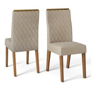 Kit 02 Cadeiras Estofadas Cassia Telha Linho Arido DJ Moveis