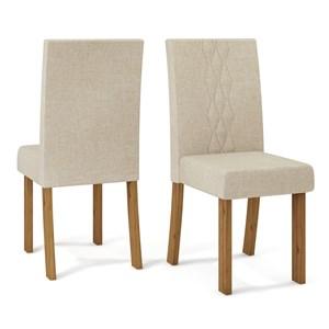 Kit 02 Cadeiras Estofadas Elisa Telha Linho Arido DJ Moveis