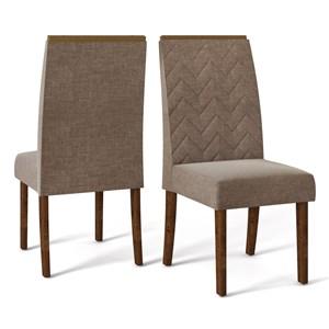Kit 02 Cadeiras Estofadas Laura Trufa Linho Marrom DJ Moveis