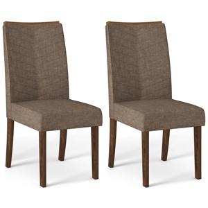 Kit 02 Cadeiras Estofadas Lucila Trufa Linho Marrom DJ Moveis