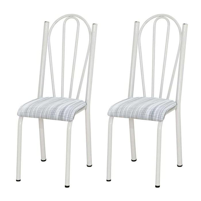 Kit 02 Cadeiras Tubular Branca 021 Assento Linho