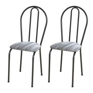 Kit 02 Cadeiras Tubular Cromo Preto 004 Assento Linho